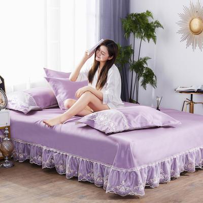 2019新款冰丝欧式蕾丝花边床裙凉席三件套 250*250 水晶之恋-紫