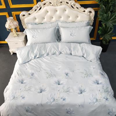 2019新款天丝四件套 1.8m(6英尺)床 浪漫花期-绿