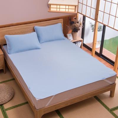 2019新款科技云母凉席 床单款0.9*2米(二件套) 条纹蓝