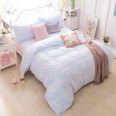 化纤单品系列化纤磨毛印花单被套 配枕套/对(两只) 素雅灰蓝