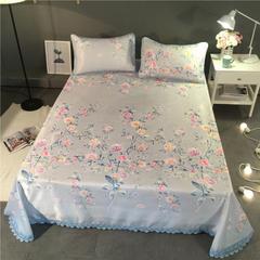 可水洗冰丝凉席床单款 230*250cm(枕套两只) 花梦影