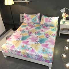 可水洗冰丝凉席床笠款 150*200cm (枕套两只) 蝶梦