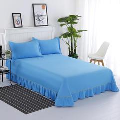 纯棉单品系列 纯棉纯色花边床单 200*250cm 深蓝