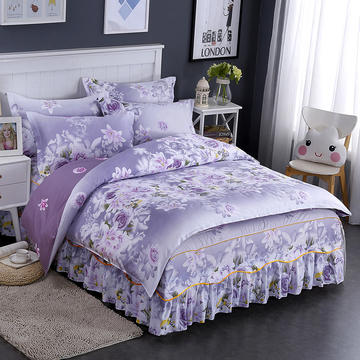 纯棉单品系列 纯棉印花【床裙款四件套】 1.2m床 (三件套) 床裙款 爱的花海