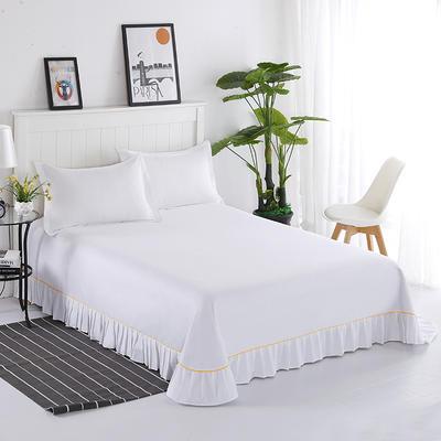 2019新款13372纯棉纯色花边床单 200*250cm 白色