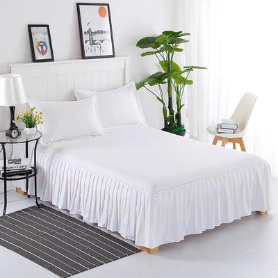 2019新款13372纯棉纯色床裙(单边) 120*200cm 白色