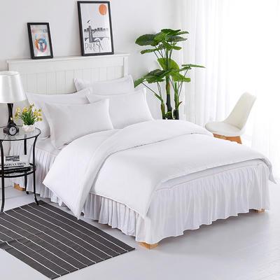 2019新款13372 纯棉【床裙款四件套】 1.2m床(三件套) 白色