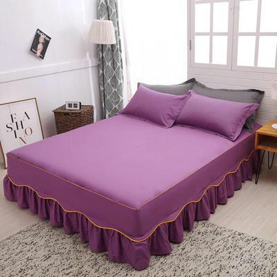2019新款12868纯棉床裙单件-S边款 枕套/对 紫色S边