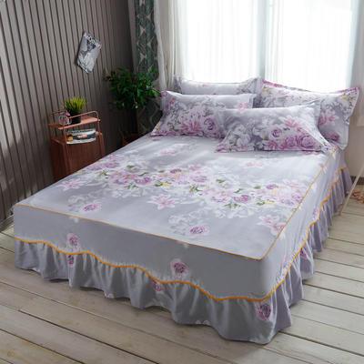 2019新款13372纯棉素色床裙单件-S边款 120cmx200cm 爱的花海S边