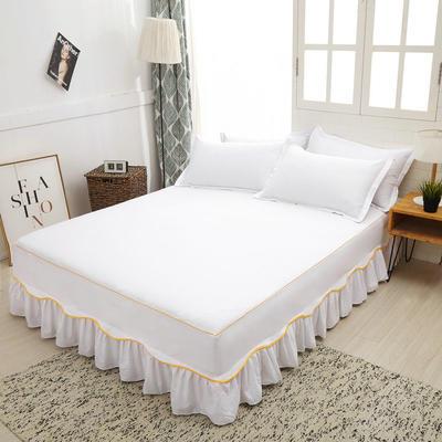 2019新款13372纯棉素色床裙单件-S边款 120cmx200cm 白色S边
