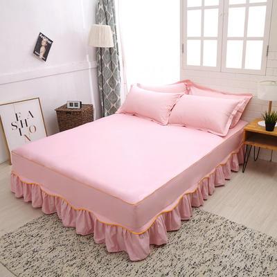 2019新款13372纯棉素色床裙单件-S边款 120cmx200cm 粉色S边