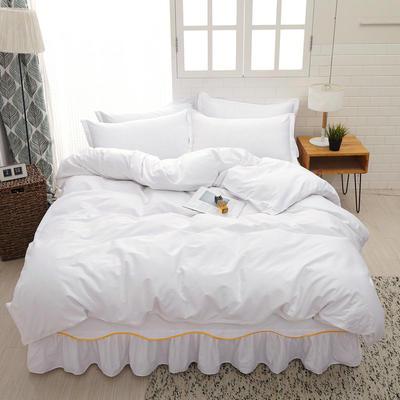 2019新款13372纯棉床裙款四件套-S边款 1.2m床三件套 纯棉床裙四件套-白色S边