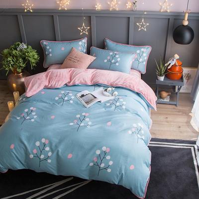 2018新款- 棉加法莱绒250克包边款四件套 床单款1.2m(4英尺)床 阿黛尔