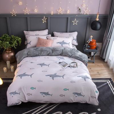 2018新款- 棉加法莱绒250克包边款四件套 床单款1.2m(4英尺)床 安东尼
