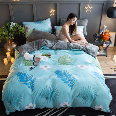 2018新款- 棉加法莱绒250克包边款四件套 床单款1.2m(4英尺)床 半夏-绿