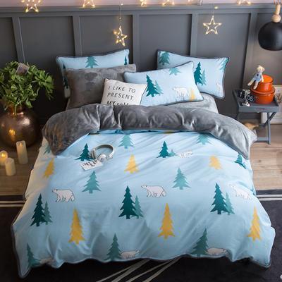 2018新款- 棉加法莱绒250克包边款四件套 床单款1.2m(4英尺)床 北极森林-兰