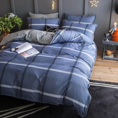 2018新款- 棉加法莱绒250克包边款四件套 床单款1.2m(4英尺)床 比论风情-灰