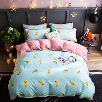 2018新款- 棉加法莱绒250克包边款四件套 床单款1.2m(4英尺)床 波罗蜜-蓝