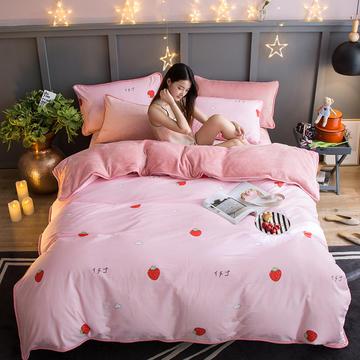 2018新款- 棉加法莱绒250克包边款四件套 床单款1.2m(4英尺)床 草莓甜心
