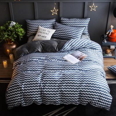 2018新款- 棉加法莱绒250克包边款四件套 床单款1.2m(4英尺)床 放飞青春