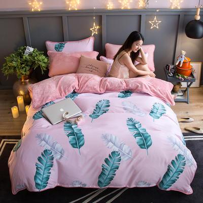 2018新款- 棉加法莱绒250克包边款四件套 床单款1.2m(4英尺)床 花间舞步