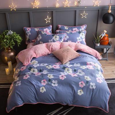 2018新款- 棉加法莱绒250克包边款四件套 床单款1.2m(4英尺)床 蒙娜丽莎-灰