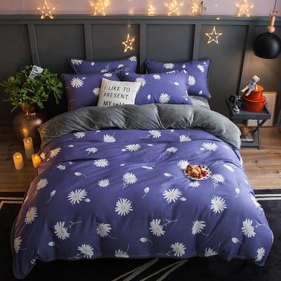 2018新款- 棉加法莱绒250克包边款四件套 床单款1.2m(4英尺)床 兰黛佳人