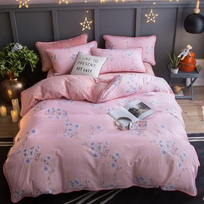 2018新款- 棉加法莱绒250克包边款四件套 床单款1.2m(4英尺)床 迷迭香-粉