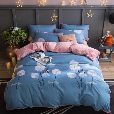 2018新款- 棉加法莱绒250克包边款四件套 床单款1.2m(4英尺)床 蜜蜂的约定