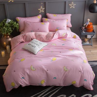 2018新款- 棉加法莱绒250克包边款四件套 床单款1.2m(4英尺)床 柠檬世界-粉