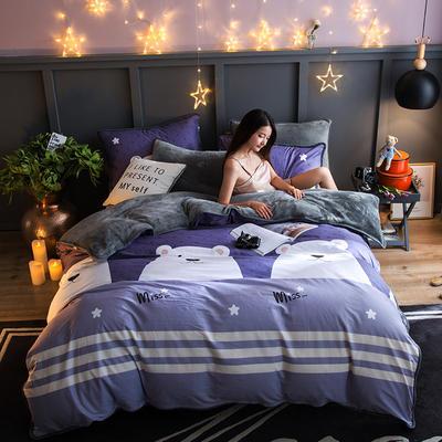 2018新款- 棉加法莱绒250克包边款四件套 床单款1.2m(4英尺)床 奇尔兰