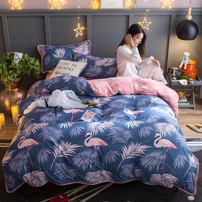 2018新款- 棉加法莱绒250克包边款四件套 床单款1.2m(4英尺)床 奇幻森林