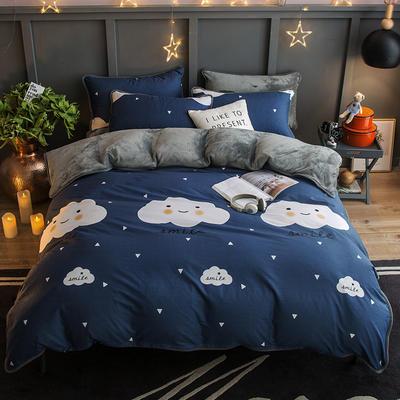 2018新款- 棉加法莱绒250克包边款四件套 床单款1.2m(4英尺)床 喜欢云