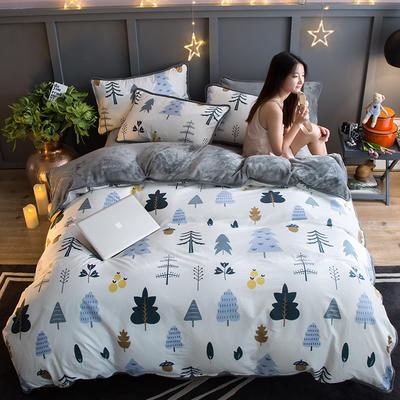 2018新款- 棉加法莱绒250克包边款四件套 床单款1.2m(4英尺)床 月光森林