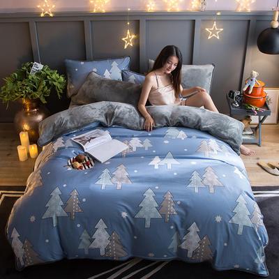 2018新款- 棉加法莱绒250克包边款四件套 床单款1.2m(4英尺)床 重庆森林-兰