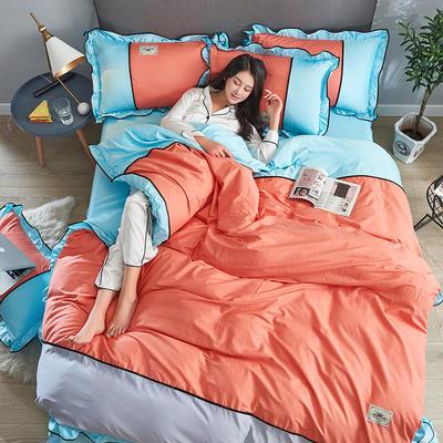 2019年新款韩版A棉B水洗真丝拼色四件套 1.8m(6英尺)床 橙色蓝