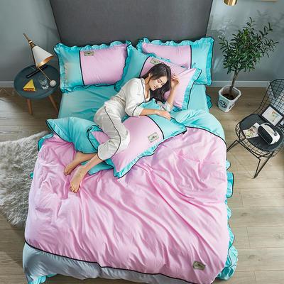 2019年新款韩版A棉B水洗真丝拼色四件套 1.8m(6英尺)床 粉红浅蓝