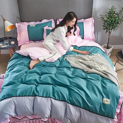 2019年新款韩版A棉B水洗真丝拼色四件套 1.8m(6英尺)床 墨绿粉红
