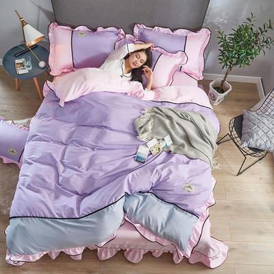 2019年新款韩版A棉B水洗真丝拼色四件套 1.8m(6英尺)床 浅紫粉红