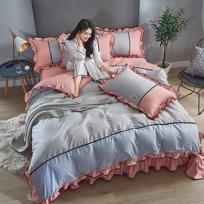 2019年新款韩版A棉B水洗真丝拼色四件套 1.8m(6英尺)床 银灰豆沙