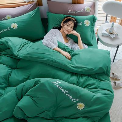 2020新款针织棉印花四件套-终版 1.8m床单款四件套 雏菊-薄荷绿