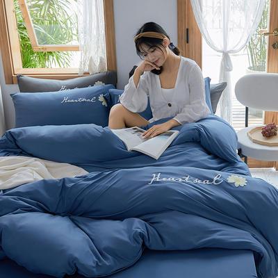 2020新款针织棉印花四件套-终版 1.8m床单款四件套 雏菊-蓝
