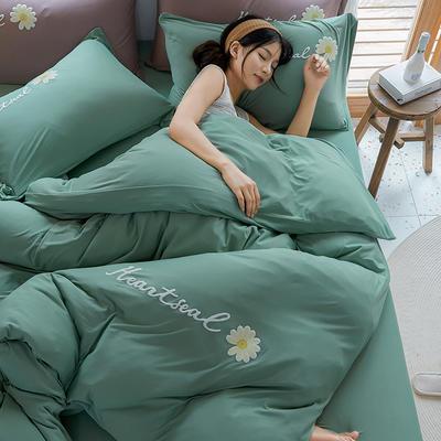 2020新款针织棉印花四件套-终版 1.8m床单款四件套 雏菊-抹茶绿