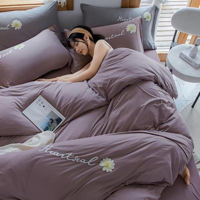 2020新款针织棉印花四件套-终版 1.8m床单款四件套 雏菊-紫
