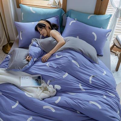 2020新款针织棉印花四件套-终版 1.8m床单款四件套 简约爱-蓝