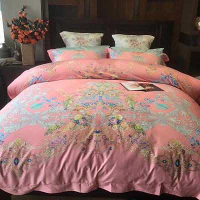 三树 100支数码印花产品套件 标准(1.5m床-1.8m床) 粉红佳人