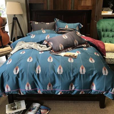 四季款北美棉四件套  麦穗蓝 2.0m(6.6英尺)床 麦穗蓝