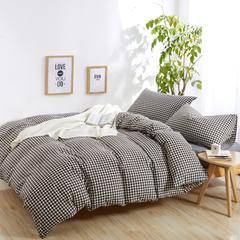 单品水洗棉单床笠 120*200 咖啡小格