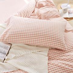 单品水洗棉枕套 74*48/对 粉色小格