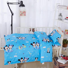 全棉卡通儿童套件不加棉(米奇恋人 蓝) 110*150 棉花芯六件套:被芯(2斤)